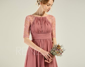 677ef80ac3 Prom Dress Old Rose Bridesmaid Dress Half Sleeves Wedding Dress Lace Ruched  Boat Neck Party Dress Empire Waist A-line Formal Dress (H800)