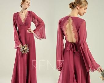 b1e6acf58cc Bridesmaid Dress Mauve Chiffon Party Dress Long Flare Sleeves Wedding Dress  V Neck Prom Dress Open Back A-line Lace Formal Dress (H802)