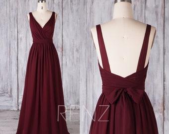 acb198ac7fd Bridesmaid Dress Burgundy V Neck Chiffon Prom Dress Long Backless Bridesmaid  Dresses (H506B)