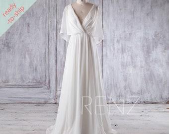Beach Wedding Dress White Chiffon Evening Dress Long Sleeve Etsy