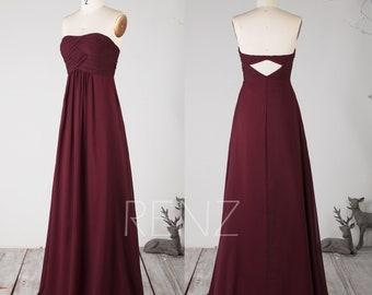 f788173a02958 Party Dress Wine Chiffon Bridesmaid Dress Sweetheart Wedding Dress Ruched  Maxi Dress low Back Prom Dress Strapless A-line Formal Dress(H752)
