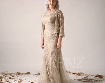 aa32cb6a638 Pale Khaki Tulle Mother of the Bride Dress Sleeveless Round Neck Fitted  Prom Dress Long Sleeve Mini Lace Female Shawl Two Piece Dress(HN611)