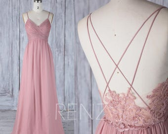 89b44ed79e63 Bridesmaid Dress Dusty Rose Prom Dress Long Wedding Dress Chiffon Spaghetti  Straps V Neck Illusion Low Back A-line Evening Dress (H497A)