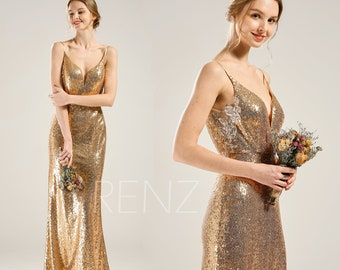 7b765e6eb49 Bridesmaid Dress Gold Sequin Dress Wedding Dress Spaghetti Strap Evening  Dress V Neck Bodycon Party Dress Lace Illusion Maxi Dress(HQ430)