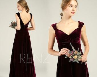 1573b6a937f Plum Bridesmaid Dress Long Sweetheart Velvet Dress Backless A Line Dress  (HV410)