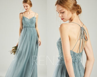 6113ef5124fd Bridesmaid Dress Dusty Blue Tulle Long Formal Dress Women Beaded Sweetheart  Convertible Straps A-line Prom Dress (HS718)