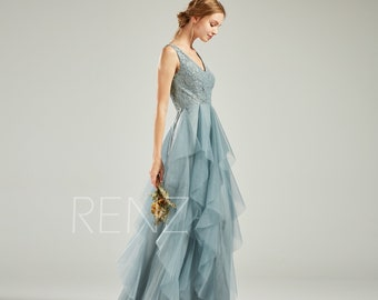 ac1c5c96a23 Formal Dress Long Dusty Blue Evening Gown Bridesmaid Dress Lace V Neck  Ruffle Tulle Skirt for Women Open Back Evening Dress (HS761)