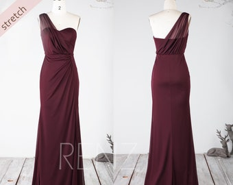 b6bcadc59d13 Bridesmaid Dress Plum Stretch Chiffon Prom Dress One Shoulder Formal Dress  Sweetheart Maxi Dress Slit Skirt Long Fitted Party Dress(HZ773)