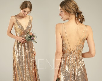 9ea349cc581 Bridesmaid Dress Gold Sequin Prom Dress Long for Women V Neck Spaghetti  Straps Boho Lace Gold Wedding Dress (HQ580)