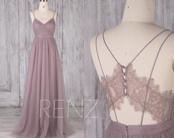 bd1bbb4835 Bridesmaid Dress Dark Mauve Tulle Dress Wedding Dress V Neck Maxi Dress  Illusion Lace Back Prom Dress Spaghetti Strap Party Dress(LS483)