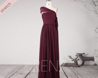 9ce8e225d39d5e Prom Dress Plum Stretch Chiffon Bridesmaid Dress Strapless Straight Across  Neck Wedding Dress Long Sash Ruched A-line Formal Dress (LZ570)
