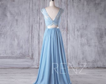 82023f294a Baby Blue Chiffon Bridesmaid Dress