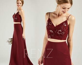 60b2657185b9 Maroon Bridesmaid Dress Wedding Dress Two Piece Prom Dress A-Line Chiffon  Maxi Dress V Neck Backless Party Dress Long Evening Dresses (H312)