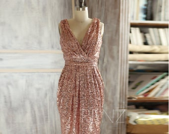 Bridesmaid Dress Rose Gold Sequin Dresswedding Dressmetallic Etsy