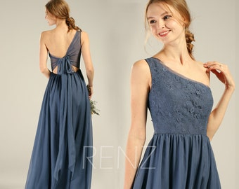 e67dea7416b93 Steel Blue Bridesmaid Dress Chiffon Long Formal Dress Women One Shoulder  Lace Open Back Evening Dress (H740)