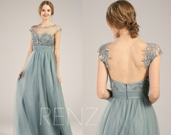 4d03b27700 Bridesmaid Dress Dusty Blue Tulle Wedding Dress Illusion Lace Sweetheart  Prom Dress Cap Sleeve A-line Pary Dress Backless Maxi Dress (LS329)