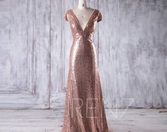 e6570110e52 Rose Gold Sequin Bridesmaid Dress Train Sexy Deep V Neck Wedding Dress Cap  Sleeve Prom Dress Fitted Evening Dress Open Back Ball Gown(CQ021)