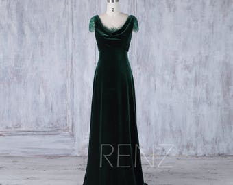 Bridesmaid Dress Dark Green Velvet Dress 185a3cc6f