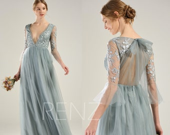 001d4e825ad Bridesmaid Dress Dusty Blue Tulle Party Dress Long Sleeve Lace Wedding Dress  Deep V Neck Prom Dress Key Hole Back A-line Formal Dress(LS586)