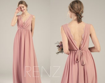 a67c5084fbd Dusty Rose Bridesmaid Dress Illusion V Neck Chiffon Wedding Dress Open Back  Long Sash Scalloped Lace Maxi Dress (L511)