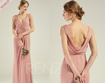 e741136aa0d Party Dress Dusty Rose Stretch Chiffon Bridesmaid Dress V Neck Wedding Dress  Long Cowl Back Prom Dress A-line Fitted Formal Dress(LZ571)