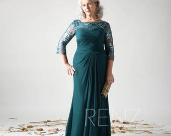 39dd83b276 Forest Green Mother of the Bride Formal Dress Illusion Long Sleeve Elegant Dress  Chiffon Fitted Dress Ruched Sweetheart Prom Dress(HN609)