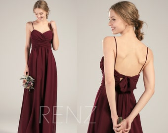 c13a2cc251d Party Dress Wine Chiffon Bridesmaid Dress Wedding Dress Ruched V Neck Maxi Dress  Spaghetti Straps Prom Dress Bow Tie A-Line Ball Gown(L398)