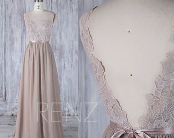 23f56c17943 Bridesmaid Dress Taupe Long Lace Boho Wedding Dress V Back Scoop Neck  A-line Wedding Gown with Sash (L291)