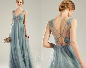 1ff6c0ff2 Bridesmaid Dress Dusty Blue Tulle Party Dress Long Lace Wedding Dress  Illusion V Neck Prom Dress Sexy Back A-line Formal Dress(LS508)
