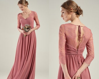 2670f4a2b5e Party Dress Dusty Rose Bridesmaid Dress Long Sleeve Wedding Dress Boho V  Neck Open Back Chiffon Prom Dress A-line Lace Evening Dress(L583)