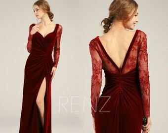 Bridesmaid Dress Wine Velvet Dress Wedding Dress Slit Illusion Lace Long  Sleeves Maxi Dress Sexy Ruched V Back Fitted Evening Dress(HV426) 11ca900b2