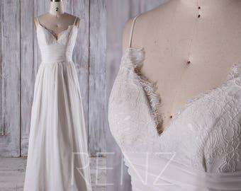 5f975aa19379 Off White Chiffon Bridesmaid Dress Wedding Dress V Neck Lace Prom Dress  Spaghetti Straps Evening Dress Open Back A-Line Maxi Dress(C025)