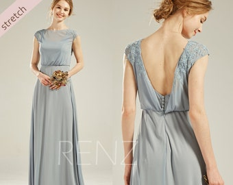 01c3d322c682 Bridesmaid Dress Dusty Blue Stretch Chiffon Prom Dress Long Cap Sleeve  A-line Formal Dress Boat Neck Party Dress Lace Wedding Dress(LZ547)