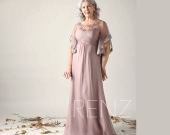 7fd58dd0e38 Rose Gray Mother of the Bride Formal Dress Flare Sleeve Bridesmaid Dress  Chiffon Wedding Dress Lace Illusion Sweetheart Maxi Dress(LN426)