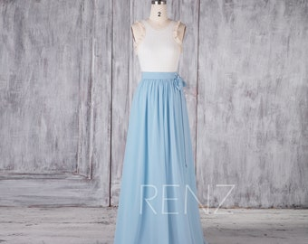 d95a128da Baby Blue Separate Maxi Skirt Long Chiffon Skirt Lapped Bow Tie Skirt Side  Slit Long Skirt A Line Evening Skirt Flowy Party Skirt (H663)