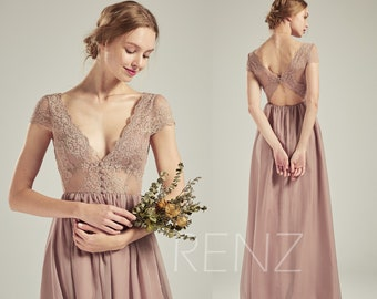 0ad4021ad47f7 Bridesmaid Dress Rose Gray Boho Lace Wedding Dress V Neck Long Chiffon  Bridesmaids Dresses (L510)