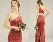 Prom Dress Long Velvet Bridesmaid Dress Velvet Dresses for Women One Shoulder English Rose Mermaid Prom Dresses (LV553)