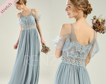 0972643ddf1da Party Dress Dusty Blue Mesh Chiffon Bridesmaid Dress Lace Illusion Scoop  Neck Prom Dress Long Off the Shoulders A-line Wedding Dress(HZ808)