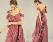 Bridesmaid Dress Dusty Rose Cold Shoulder Wedding Dress Beach Backless Lapped Ruffle Long Bridesmaids Dresses (L542)