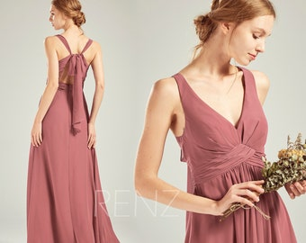 1aa322cec7c9 Old Rose Chiffon Bridesmaid Dress Wedding Dress V Neck Maxi Dress  Adjustable Strap Prom Dress Long A-line Empire Waist Party Dress-H753