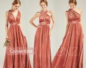 Velvet Bridesmaid Dress Long English Rose V Neck Convertible Straps Velvet Infinity Dress A-line Multiway Dress (HV763)
