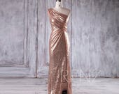 Bridesmaid Dress Rose Gold Sequin Dress Wedding Dress One Shoulder Party Dress Ruched Bodycon Maxi Dress Sleeveless Slit Prom Dress(HQ379A)