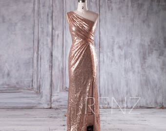 50b0a06c99183 Bridesmaid Dress Rose Gold Sequin Dress Wedding Dress One Shoulder Party  Dress Ruched Bodycon Maxi Dress Sleeveless Slit Prom Dress(HQ379A)