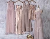 Cream Chiffon Mismatched Bridesmaid Dress V Neck Tan Sequin Dress Wedding Dress Strapless Sweetheart Evening Dress(H179 J025 LQ265 T112)