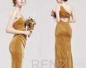 Bridesmaid Dress Ginger Velvet Prom Dress One Shoulder Mermaid Formal Dress Open Back Sheath Party Dress Ruched Velvet Wedding Dress(LV553B)