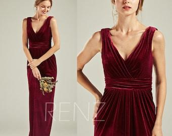 650b2880c27 Burgundy Velvet Bridesmaid Dress Wedding Dress Ruched V Neck Maxi Dress  Sleeveless Fitted Prom Dress V Back Empire Waist Party Dress(HV770)