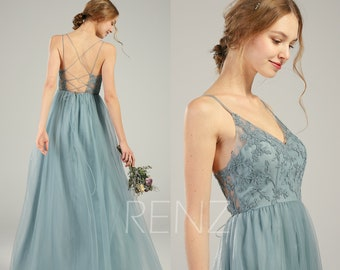 dd969e61836 Bridesmaid Dress Dusty Blue Lace Wedding Dress Long V Neck Spaghetti Strap  Prom Dress Illusion Lace-up Back A-line Tulle Dress (HS736)