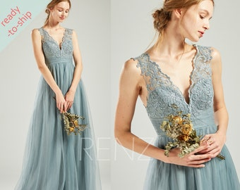 510a7c58adcc Dusty Blue Wine Dark Mauve Tulle Bridesmaid Dress V Neck Sleeveless Maxi  Party Dress Illusion Lace Back A-line In Stock Prom Dress - HS731