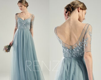 9e86c4df478c Bridesmaid Dress Dusty Blue Tulle Wedding Dress Lace Half Sleeves Beaded V  Neck Formal Dress Long A-line Bridesmaid Dress (LS589)