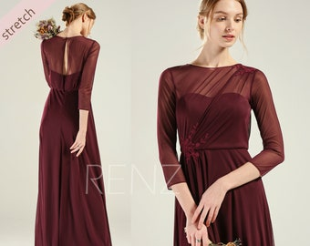 230e516827 Prom Dress Plum Stretch Chiffon Bridesmaid Dress Long Sleeves Wedding Dress  Boat Neck Party Dress Key Hole Back Lace Formal Dress (HZ785)